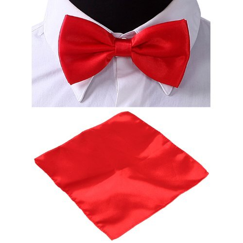HDE Mens Matching Solid Color Pre-Tied Bow Tie & Pocket Square Combo Sets - Red