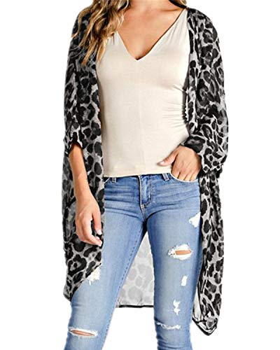 CNFIO Women Summer Chiffon Kimonos Sheer Loose Leopard Cardigans Casual Beach Cover Ups Grey X-Large ()