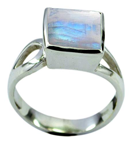 Gemsonclick Choose Your Gemstone Color Real Square Shape Silver Rings for Women Chakra Healing Handcrafted Size 5-12