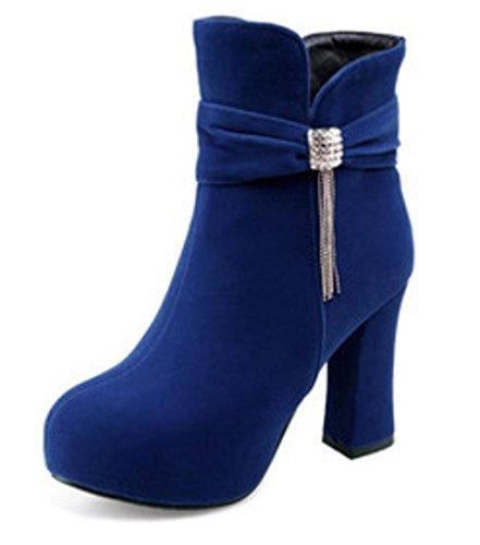 Soled Elegant Boots Personality Boots Martin Short zipper Heel Shoes Heels HETAO Women Side Shoes Thick Temperament High Blue Shoes Heel Casual wnd0nUZq
