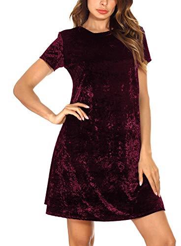 Women's Vintage Velvet Dress Short Sleeve Flared Dress (XL, Maroon)