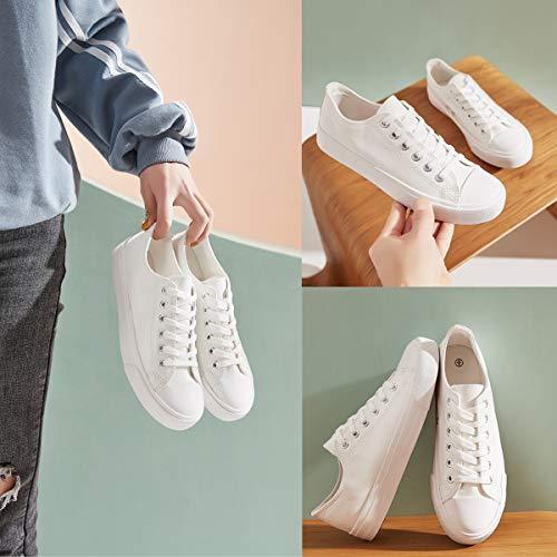 hash bubbie Women's Fashion Sneakers PU Leather Low Top Casual Shoes(White.9)