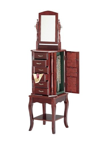 Queen Anne Style Cherry Finish Wood Revolving Jewelry Armoire