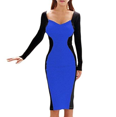Sexy out Donne Vestito collo Pacchetto Fit Dell'anca Coolred Magia Del Cut V Delle Slim Blu Colore xEwvxIYq