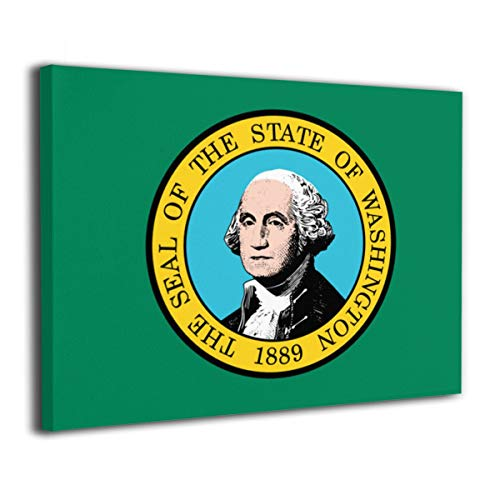 Pksistcol Washington State Flag Canvas Painting Frame 16x20 Wall Modern Art Decor