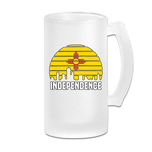 Independence City New Mexico Glass Beer Mug With Handle, 16 OZ / 500 ML Large Pub Beer Glass For Freezer ()