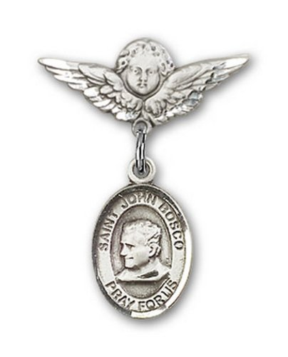 Icecarats Créatrice De Bijoux En Argent Sterling St. John Bosco Charme Ange Pin Badge 7/8 X 3/4
