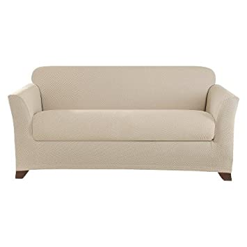 surefit stretch twill dark flax loveseat slipcovers