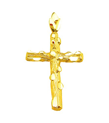 (AMZ Jewelry 10k Yellow Gold Nugget Cross Pendant Gold Crucifix Charm for 2.5 mm Gold Necklace)