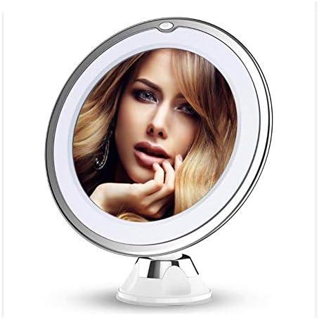 10倍拡大鏡LEDライト化粧鏡付きランプ15X拡大鏡USBバッテリーバニティガラスメイクアップライトミニコスメティックサクション