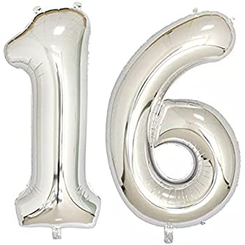 40inch Silver Foil 16 Helium Jumbo Digital Number Balloons 16th Birthday Decoration For Girls Or