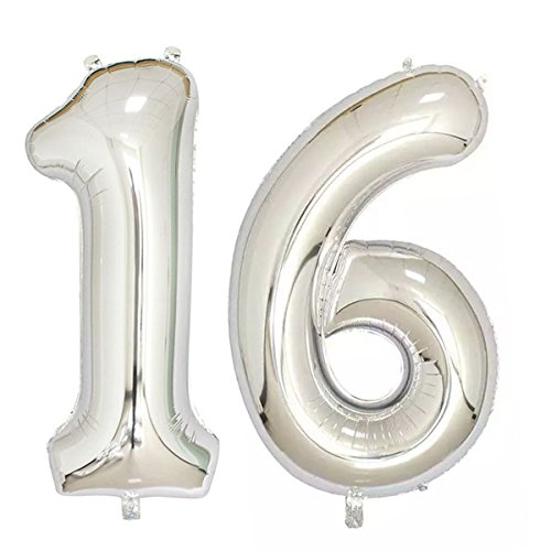 40inch Silver Foil 16 Helium Jumbo Digital Number Balloons, 16th Birthday Decoration for Girls or Boys, sweet 16 Birthday Party -