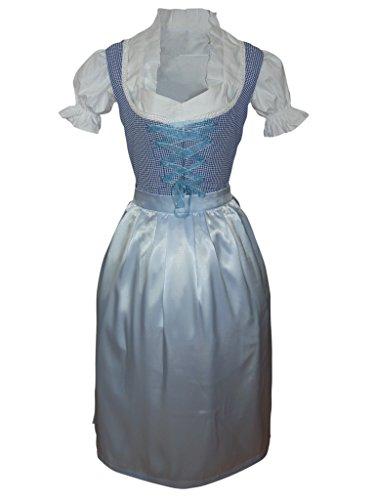 Di10 Exclusives, langes Dirndl, 3 teilig, blau kariertes Trachtenkleid mit Bluse und Schürze, Rocklänge 78-81 cm, Größe 40