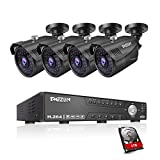 TMEZON 5MP Security Camera System,4 Channel 1920p CCTV DVR Reorder(1TB HDD Built-in) W/4x HD 5MP(2592 x 1920) Outdoor/Indoor Day Night Vision Surveillance Camera-Remote Access,Motion Detection