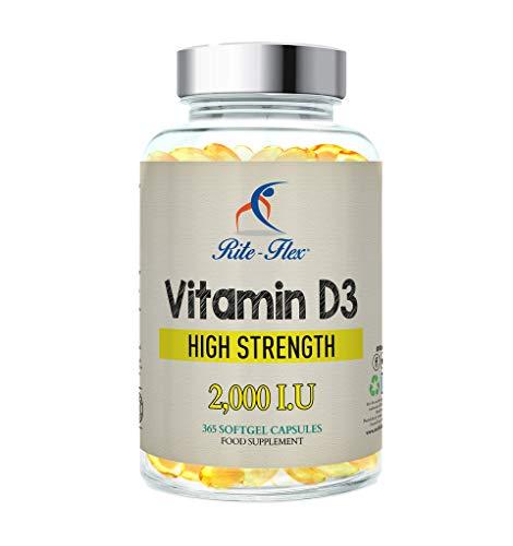 Rite-Flex Vitamine D3 2,000 IU 365 Capsules Molles Supplément 1 par Jour Force Maximale