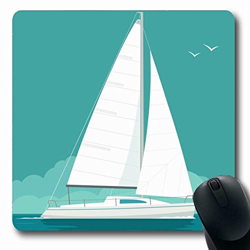 Ahawoso Mousepads for Computers Nautical Boat Sailing Yacht On Sea Waves Sport Sailboat Flat Club Graphic White Abstract Oblong Shape 7.9 x 9.5 Inches Non-Slip Oblong Gaming Mouse Pad