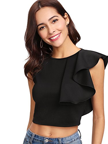 Verdusa Women's Round Neck Ruffle Trim Tank Crop Top Black XL