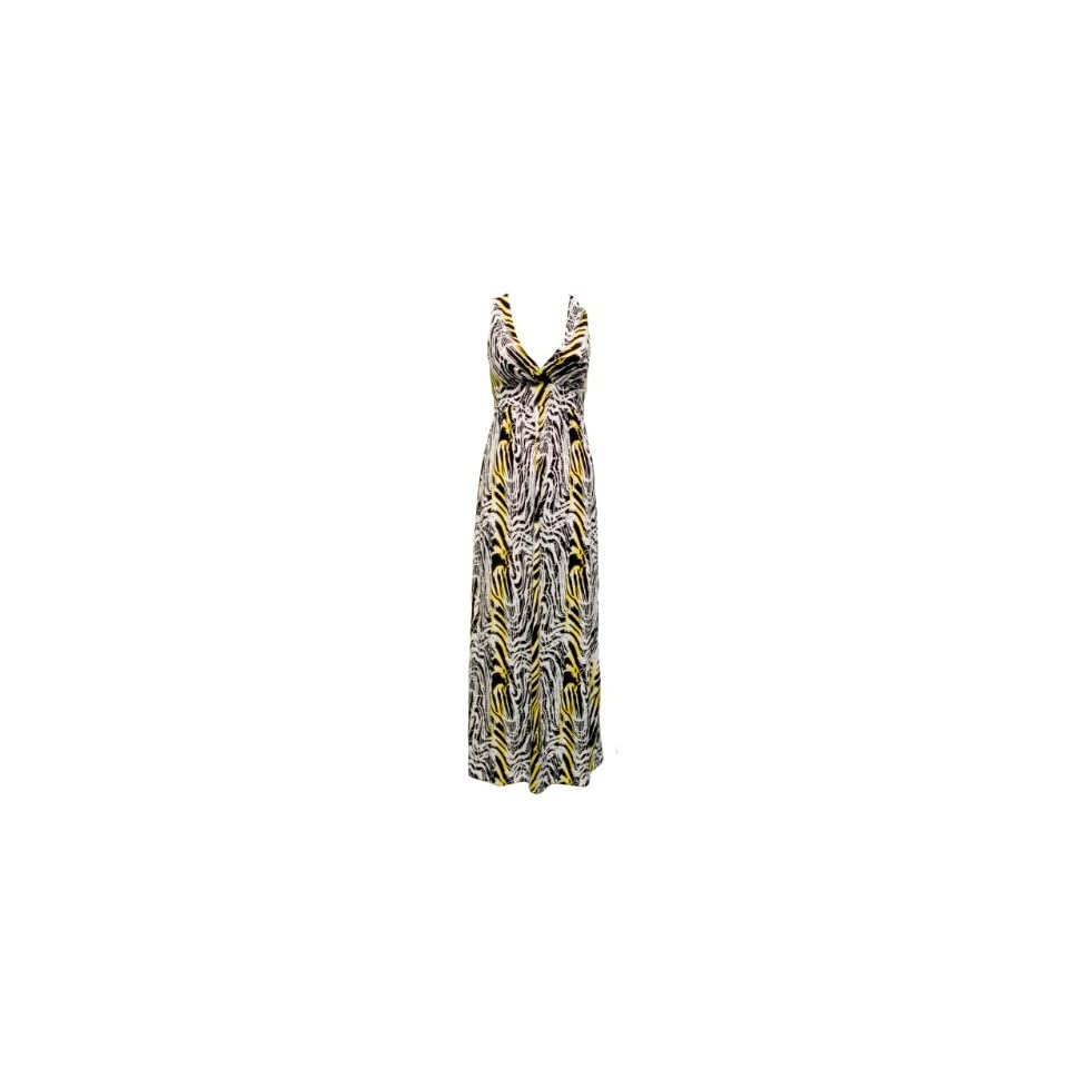 Ladies Black White Zebra Pattern Long Dress with Yellow Print