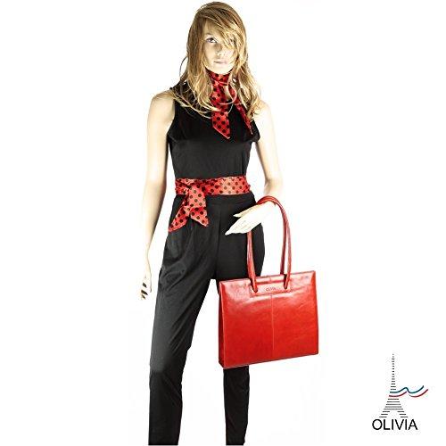 Olivia - LONDON - Sac à main femme cuir rouge/camel - 36X31X15 CM