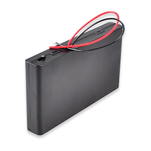 HTTX 12V AA Battery Pack with Leads, 8 x 1.5v AA Battery Case Holder, Battery Storage Box with ON/OFF Switch 6inch Bare Wire Leads ()