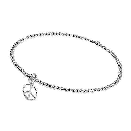 AeraVida Peace Sign Bangle Elastic Sterling Silver Beads Stretch Bracelet