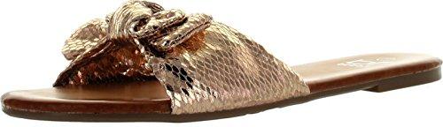 BETANI Dora-23 Women Basic Sweet Slide Beach Sandal Flat Slip On Shoe Sandals Gold OsKI5Ckhu5
