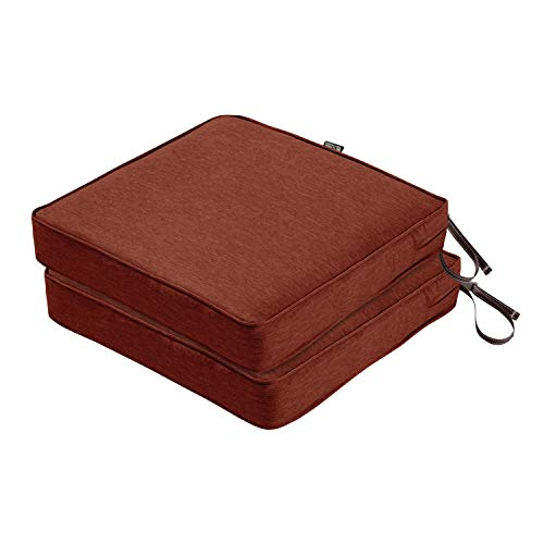 Classic Accessories Montlake FadeSafe Patio Seat Cushion, 2-Pack, Heather Henna, 19″W x 19″D x 3″Thick