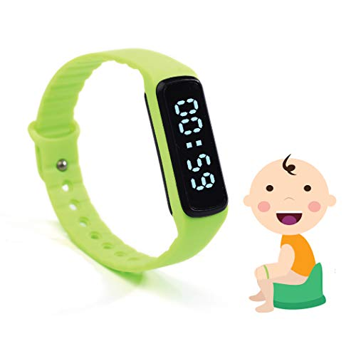 The Brand New Designed Potty Training Bracelet (Green) with Water Resistance Function and Small Sized Watchband - Made with 100% Non-Toxic, BPA/Latex Free Silicone Rubber