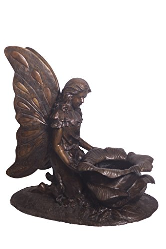 World of Bronze Statues Warehouse Kneeling Butterfly Fairy Woman with Flower Urn Statue, 47-Inch  by 25-Inch by 39-Inch by World of Bronze Statues Warehouse