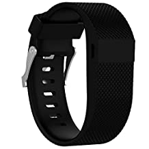 Watch Band, ABC Replacement Silicone Rubber Wrist Watch Band Strap for Fitbit Charge HR (Large) (Black)