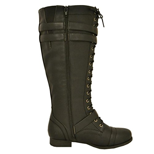 Twisted Women's Trooper Knee-High Extended Calf Faux Leather Military Boot - stylishcombatboots.com