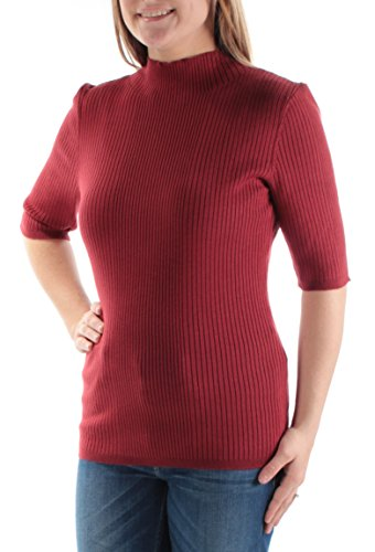 INC $50 Womens New 1051 Red Short Sleeve Jewel Neck Casual Sweater XS B+B