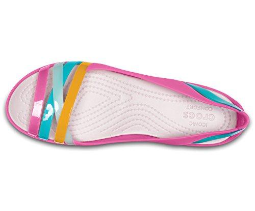 Flat Huarache 2 Abierta Rosa Mujer Para Punta W Isabella Con Crocs Bailarinas waBFxq455t