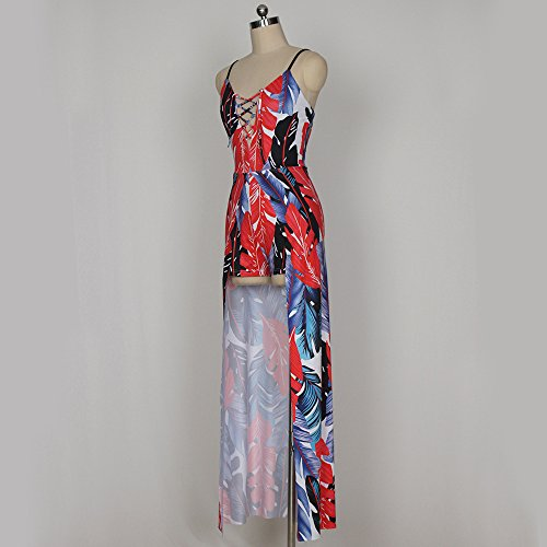 Dress Lace Aro 4 Floral Up Multicolor V Lora Maxi Neck Women's q66w8gI