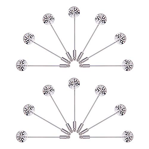 PandaHall Elite 20 Pcs Brass Round Beading Coat Stick Pin with Clutches Brooches 2.4 Inches Shower Head 13.5mm for Badge, Corsage, Name Tags and Jewelry Craft Making