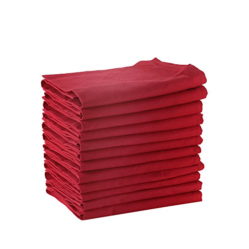 DG COLLECTIONS Cotton Dinner Napkins Red, Set of 12 (20 x 20 Inches), Over Sized, Embroidery and Print, Lint Free, Quick Dry, Hemmed with Mitered Corners ()