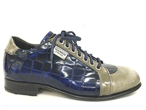 Harris - Zapatos de cordones de Piel para hombre CROCO BLU PIETRA