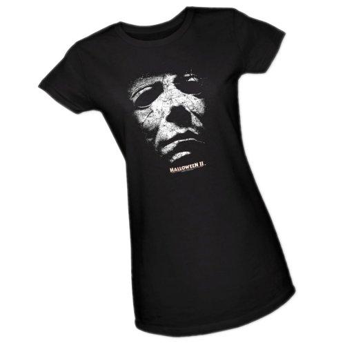 Mask -- Halloween II Crop Sleeve Fitted Juniors T-Shirt, -