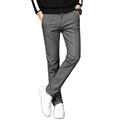 Alion Men's Casual Plaid Fleece Warm Non-Iron Slim Fit Dress Pants Trouser free shipping