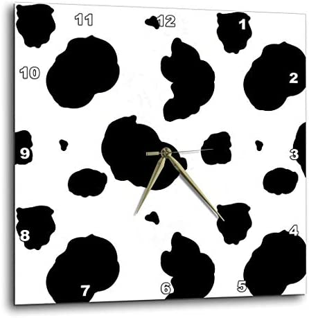 3dRose dpp_164633_1 Black and White Cow Print-Wall Clock, 10 by 10-Inch