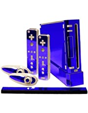 Blue Chrome Mirror Vinyl Decal Faceplate Mod Skin Kit for Nintendo Wii Console by System Skins