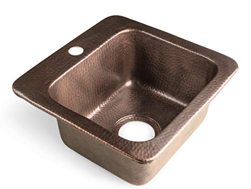 Monarch Abode 17092 Pure Copper Hand Hammered Baxter Bar Prep Single Bowl Kitchen Sink,