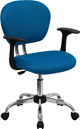 Flash Furniture H-2376-F-TUR-ARMS-GG Mid-Back Turquoise Mesh Task Chair with Arms and Chrome Base (Flash Furniture Chairs)