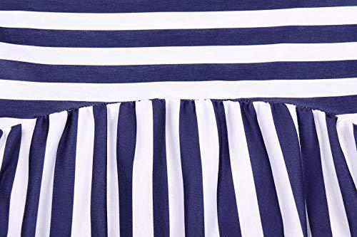 Printemps Jumpers Jeune Col Rond Tee et Casual Tops Femmes Manches Chemisiers Automne Shirt Hauts Longues Fonc Raye Mode Blouse T Bleu r7IqryUTw
