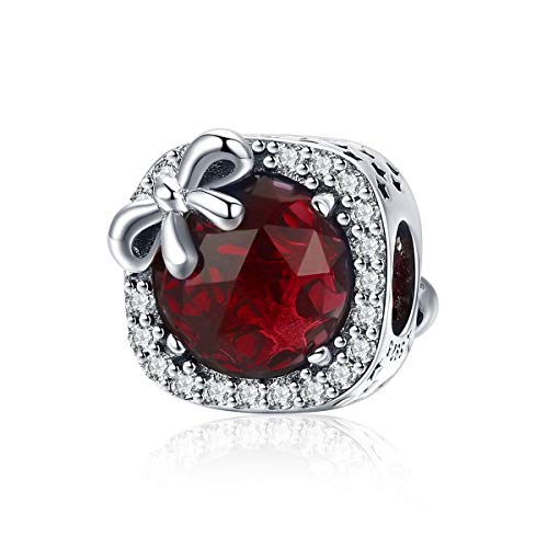 BAMOER 925 Sterling Silver Charm Radiant Red Birthstone Bowknot Crystal Bead Charm for European Bracelet -