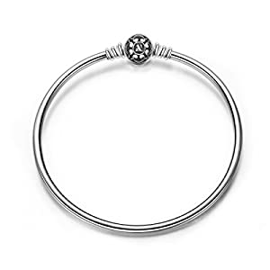 NinaQueen 925 Sterling Silver Bangle Bracelet with Black Snap Clasp 7.5 Inches, Birthday Anniversary Graduation Wedding Gifts for Women Wife Bracelets for Charms Teen Girls