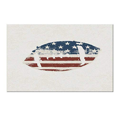 (YOLIYANA Sports Durable Door Mat,Grunge American Flag Themed Stitched Rugby Ball Vintage Design Football Theme for Home Office,15.7