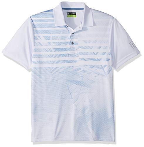 Drifter 2 Complete Body - PGA TOUR Men's Short Sleeve Asymmetrical Printed Polo Shirt, Tropical Stripes Bright White, XXL