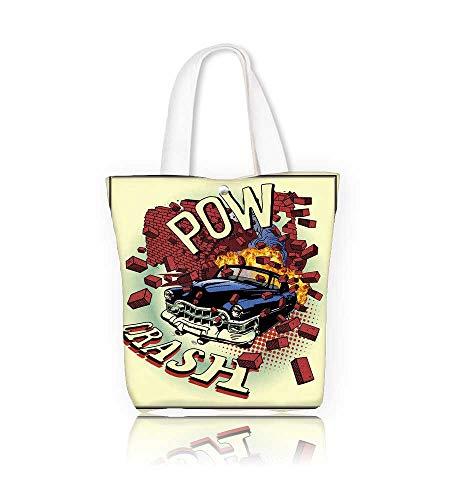 Canvas Zipper Tote Bag car crash Reusable Canvas Zipper Tote Bag Printed 100% Cotton W16.5xH14xD7 INCH ()