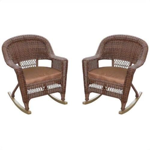 - ANA Store Cocoa Brown Weaving Rocking Rocker Set of 2 Sound Recliner Wicker-Work 2 Pcs Straw-Plaited Bench Armchair with Cushion Handicraft Furniture Outdoor Children Chocolate Chair